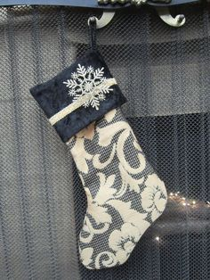 RomanticBeckonings Black and Gold Formal Christmas Stocking with Satin Lace and Cuff Fully Lined by RomanticBeckonings on Etsy