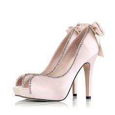 Pink #wedding shoes with rhinestone trim. Get inspired at diyweddingsmag.com