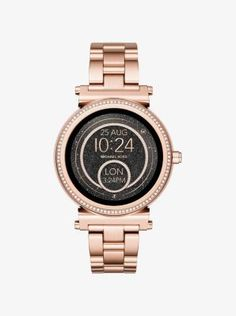 The Michael Kors Access Sofie smartwatch combines modern glamour with next-generation technology. Featuring a full round display with new technology for dazzling clarity, it's designed in a slim profile with rose gold-tone plating and a luxe pavé-lined bezel. Functionality from Android Wear™ 2.0 keeps you connected to your goals and favorite apps, while interchangeable straps and multiple display faces offer endless options to customize and suit your style.