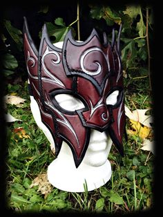 Blood Mage Leather Mask costume masquerade fantasy by FeralCrafter