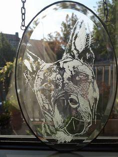 Engraved ~ Graveren ~ Dog ~ Hond ~ Glas ~ Stained Glass ~ Suncatcher ~ ArrowGlass