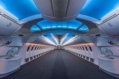 This is an interior shot of a Boeing 787 jumbo jet before any seats have been installed. As you can see, it looks. Boeing Business Jet, Gulfstream G650, Private Jet Interior, Boeing 787 Dreamliner, Boeing 747, Boeing Planes, Luxury Jets, Luxury Rv, Luxury Interior