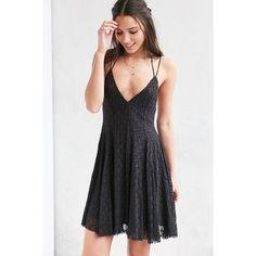 Kimchi Blue Fauna Lace Empire Mini Dress ($79) ❤ liked on Polyvore featuring dresses, black, black halter dress, lace dress, black cocktail dresses, black dress et skater skirt
