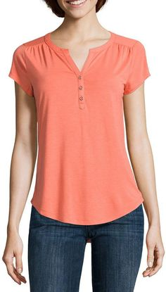 LIZ CLAIBORNE Liz Claiborne Cap-Sleeve Henley Tee Plus Size Shirts, Plus Size Blouses, Cheap Summer Outfits, Blouses For Women, T Shirts For Women, Blue Party Dress, Henley Tee, Stylish Tops, Diva Fashion
