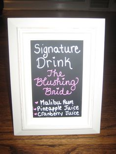 signature wedding drink sign | signature drink sign