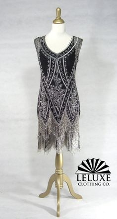 The Charleston Black and Silver The Charleston beaded 1920s dress twenties dress flapper dress wedding dress reproduction dress [] - $399.99 : Beaded 1920's Style Gowns, Art Deco Gowns, 20's Flapper Fringe Dresses, Vintage Daywear, Hollywood Reproductions..... from LeLuxe Clothing