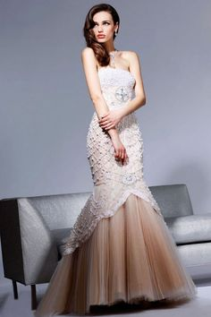 Mermaid Strapless Sleeveless Pearls Floor-length Wedding Dress. All beading work is done by hand.