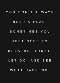 You don't always need a plan. Sometimes you just need to trust the universe.