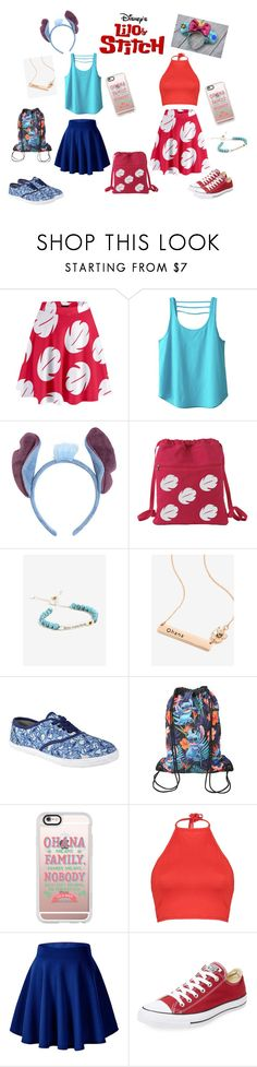 """Lilo and stitch Disneyland outfit"" by ellie-may346 on Polyvore featuring Kavu, Hot Topic, Disney, Casetify, Boohoo and Converse"
