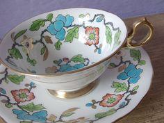 tea cup set, vintage 1940's Royal Chelsea English tea set, blue green gold bone china tea cup. via Etsy.