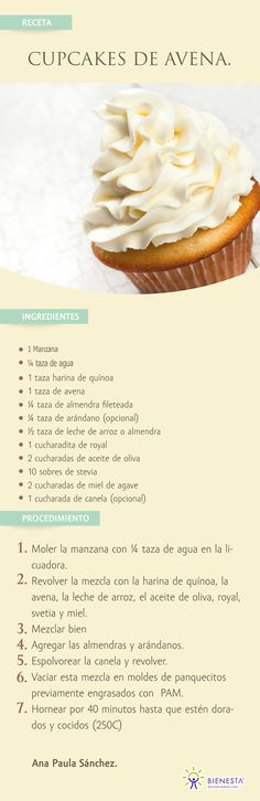 New Ideas For Cupcakes Recetas Mofins Cupcake Recipes, Cupcake Cakes, Dessert Recipes, Healthy Desserts, Sweet Recipes, Love Food, Food And Drink, Cooking Recipes, Yummy Food