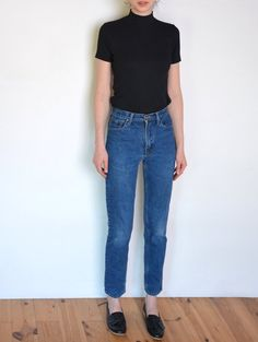 90's slim mom jeans blue denim high waisted by WoodhouseStudios