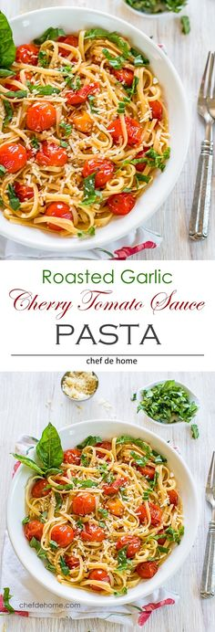 Pasta with Roasted Garlic and Burst Cherry Tomatoes Sauce for quick clean flavorful and easy weeknight pasta dinner | chefdehome.com
