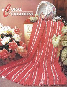 💁 Crochê Listra Coral da Herança Padrão Afegão casa por itens decorativos Malha Criações -  /  💁 Crochet Stripe Heirloom Coral Afghan Pattern Home by Knit Knacks Creations -