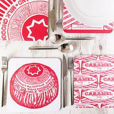 Gillian Kyle, Tunnock's Biscuits Caramel Wafer and Teacake Scottish placemats, set of Tunnock's Irn Bru, Glasgow School Of Art, Scottish Gifts, Tea Cakes, Creative Business, Color Splash, Screen Printing, Caramel, Personalized Gifts