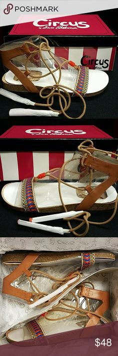 Circus by Sam Edelman, Ankle Lace Sandals These are so cute and boho hippie chick funky! Love the colors and the design. The cork bed will make them extra comfy for long walks around the Farmers Market. (🙂+2) Circus by Sam Edelman Shoes Sandals