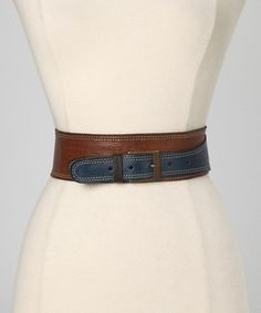 Take a look at this Chocolate & Blue Tina Leather Waist Belt by Motif 56 on #zulily today! $59.99
