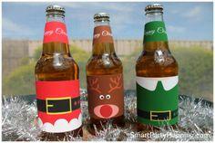 Santa, Rudolf and Elf beer labels for Christmas #Christmas #PrintableLabel #ChristmasGift