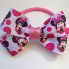Minnie Mouse Boutique Elastic Hairbow Ties Clips by OliverandMay, $3.85