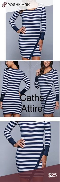 """Long Sleeve Stripe Mini Bodycon Dress. Long Sleeve Stripe Mini Bodycon Dress. Navy blue and white with scoop neck.  Bust 36"""". Length 34"""". FIRM PRICE. Coming Soon. Gorgeous. Dresses"""