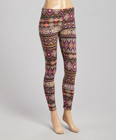 Another great find on #zulily! Black & Purple Tribal Leggings by Solo La Fe #zulilyfinds