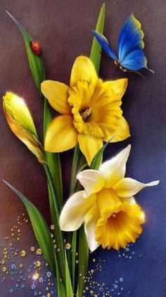 """Bagchi ~ """"Dances With The Daffodils.""""Barnali Bagchi ~ """"Dances With The Daffodils. Abstract Painters, Abstract Canvas, Beautiful Flowers Wallpapers, Butterfly Wallpaper, Daffodils, Yellow Flowers, Flower Art, Diamond Cross, Painting Flowers"""