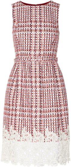 Oscar de la renta Guipure Lacetrimmed Tweed Dress - Lyst
