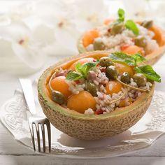 Recette Salade de riz express au melon et câpres (facile, rapide)