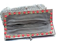 FREE SHIPPING Vintage Art Deco Silvery Grey Beaded Handbag with Hand Sewn Red Roses in Lining and Clip Fastener & Chain Handle (c1930s) by GillardAndMay on Etsy