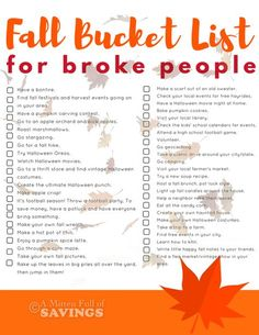 Create the ULTIMATE Fall Bucket List with these ideas. Plus, this is a great bucket list for frugal people, who are looking for free or frugal activities to do this fall. Get our free fall bucket list printable on the blog now. [ad]