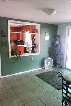 Awesome Convenient Pass Through Window With Shelves Between Dining Room And Kitchen
