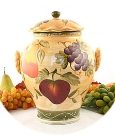 @Overstock - Tuscan Collection features individually hand-painted ceramicsCookie jar brings a touch of Old World charm to any settingKitchen accessory features high quality ceramic constructionhttp://www.overstock.com/Home-Garden/Tuscan-Collection-Hand-painted-Cookie-Jar/2506127/product.html?CID=214117 $37.92