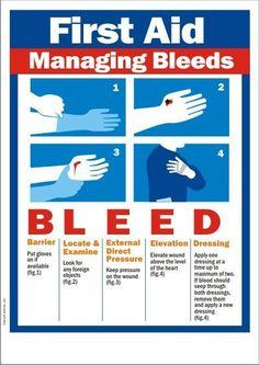 First-Aid-Managing-Bleeds - health and beauty Schul Survival Kits, Emergency Preparedness Kit, Survival Skills, Survival Quotes, Survival Prepping, Wilderness Survival, Nursing School Notes, Medical School, Medical Humor