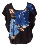 rickis : circle cut knit top with flutter sleeve, scoop neckline and front placement print
