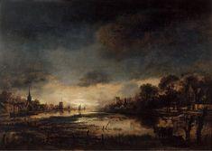 c.1650-1655, Aert van der Neer,Moonlit Landscape,Oil on panel,44,8x63cm. Mauritshuis,The Hague.