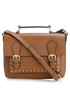 Leather Studded Satchel | Brown | Accessorize