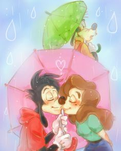 Sneaking a Kiss | by Y @ Pixiv.net // max and roxanne; goof troop; a goofy movie