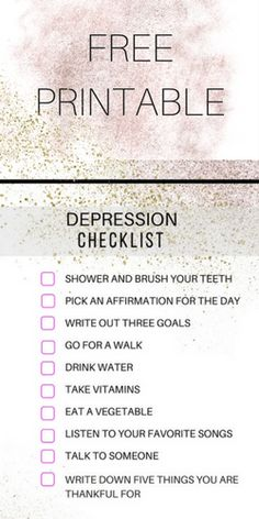 Free printable depression survival checklist