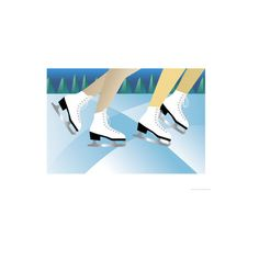 Ice Skaters Wall Art Print ($13) ❤ liked on Polyvore featuring home, home decor, wall art, all traditional sports, entertainment, ice skating, sports, traditional sports, traditional home decor and sports posters