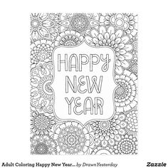 Adult Coloring Happy New Year Postcard - Save 60% OFF with coupon code ZAZBIGSAVING - (Adult coloring book, adult coloring pages, greeting cards, new year 2017, creating, colouring, mindfulness, DIY, color your own, customize, personalize, discount, sale, savings, deals, fun)