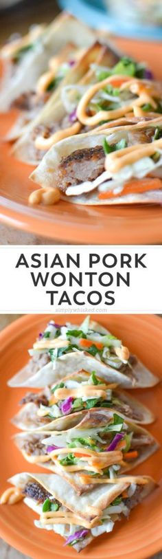 These baked wonton tacos are filled with marinated, roasted pork topped with Korean barbecue sauce and fresh cilantro coleslaw. Great Appetizers, Appetizer Recipes, Italian Appetizers, Tapas, Wonton Tacos, Asian Pork, Asian Tacos, Dairy Free Recipes, Asian Recipes