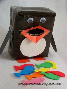 Paşamla Yaşam Balık yutan penguen,karton kutudan penguen yapımı