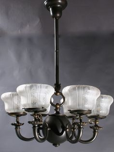 """This Circa 1895 3&3 Gas and Electric Chandelier had cornucopia arms with deep acid etched cutback Gas Shades. 33 1/2"""" drop x 25"""" diameter. Drop can be adjusted. $5325.00"""