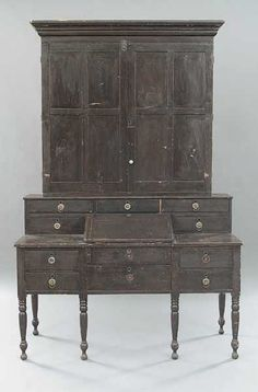 """Southern Plantation Desk. Painted Cherrywood with Paneled Doors. Circa Mid-19th Century. 91-1/2"""" x 53-1/2"""" x 23""""."""
