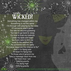 I love, love, love Wicked! @Sarah Chintomby Anderson, I thought of you when saw this page!
