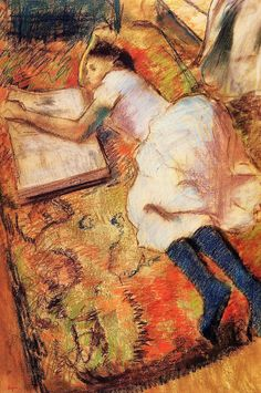 Taking a break: Edgar Degas' Reading, pastel drawing, c. 1889. http://www.the-athenaeum.org/art/detail.php?ID=5460