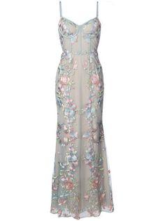 Marchesa Notte Vestido de festa com bordado floral