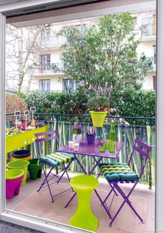 Three decorating ideas for a balcony - Marcela Vásquez- Drei Deko-Ideen für einen Balkon – Marcela Vásquez decorating ideas for a balcony – Marcela Vásquez- # decoration - Tiny Balcony, Small Terrace, Terrace Garden, Small Balconies, Balcony Ideas, Outdoor Spaces, Outdoor Living, Outdoor Decor, Balcony Chairs