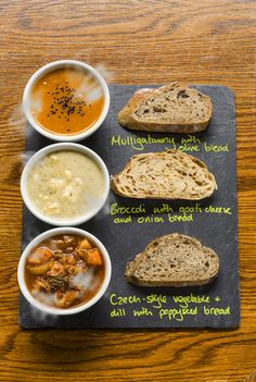Union of Genius - soup cafe in Edinburgh. A trio of soup with matching breads. Lovely for lunch on a grey day.