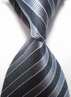 Black Gray Stripe Silk Classic Woven Man Tie Necktie